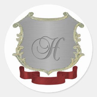 Letra H del monograma del escudo de la familia Pegatina Redonda