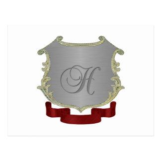 Letra H del monograma del escudo de la familia Postales