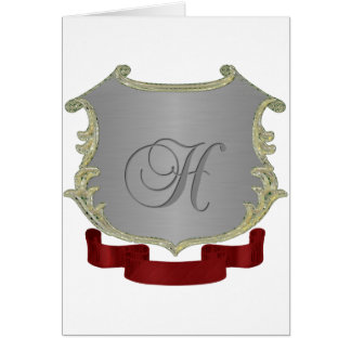 Letra H del monograma del escudo de la familia Tarjeta De Felicitación