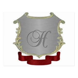 Letra H del monograma del escudo de la familia Tarjeta Postal