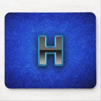 Letra H - edición azul de neón Tapetes De Ratones