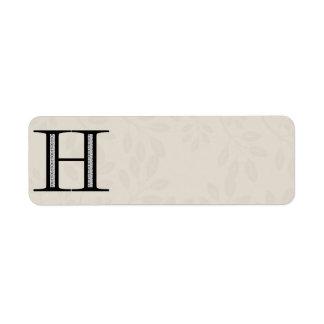 Letra H - negro del damasco Etiquetas De Remite