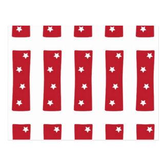Letra I - Estrellas del blanco en rojo oscuro Postales