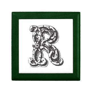 Letra inicial con monograma de encargo R Caja De Recuerdo