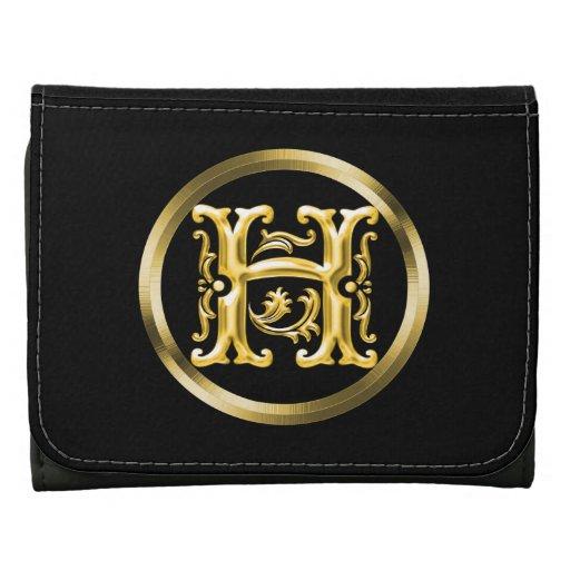 Letra inicial de H en personalizado del oro