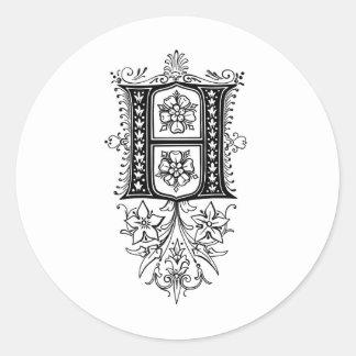 Letra inicial floral del monograma H del vintage Pegatina Redonda
