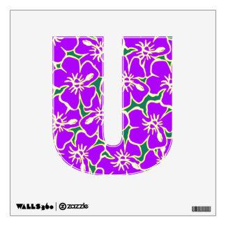 Letra inicial hawaiana floral púrpura U de Luau Vinilo Decorativo