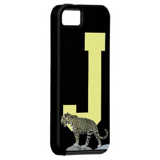Letra inicial J, personalizado del monograma del iPhone 5 Case-Mate Protectores