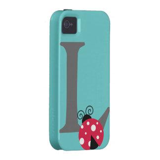 Letra inicial L personalizado lindo del monograma Case-Mate iPhone 4 Carcasa