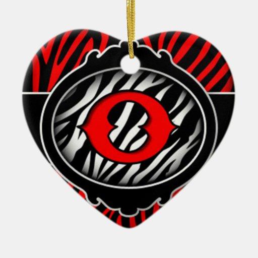 letra inicial O de la cebra roja traviesa Adorno De Cerámica En Forma De Corazón