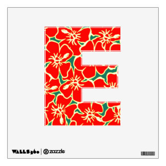 Letra inicial tropical floral E de Luau del Vinilo Adhesivo