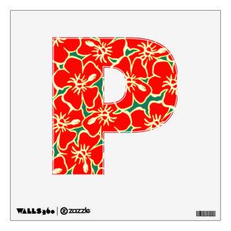 Letra inicial tropical floral P de Luau del Vinilo Adhesivo