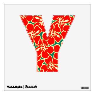 Letra inicial tropical floral Y de Luau del Vinilo Decorativo
