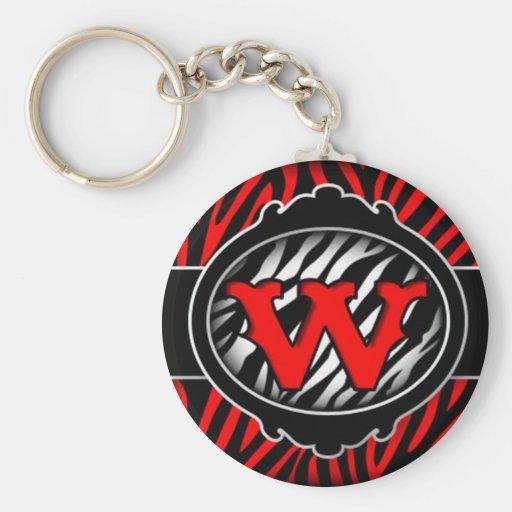letra inicial W de la cebra roja traviesa Llavero Redondo Tipo Pin
