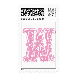 Letra inicial W del rosa del sello del monograma