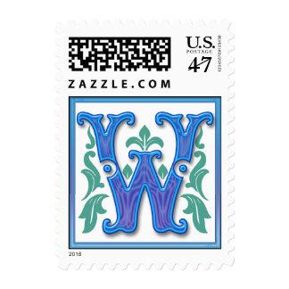 Letra inicial W del vintage w Timbre Postal