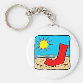 Letra J de las ideas del boda de playa Llavero Redondo Tipo Pin