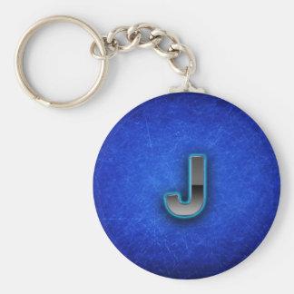 Letra J - edición azul de neón Llaveros Personalizados