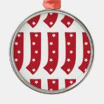 Letra J - Estrellas del blanco en rojo oscuro Ornamentos Para Reyes Magos