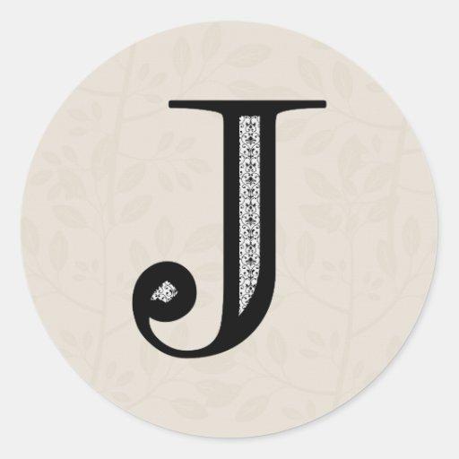Letra J - negro del damasco Etiqueta Redonda