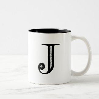 Letra J - negro del damasco Taza De Café