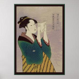 Letra japonesa de la lectura de la mujer posters