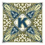 Letra K de la piedra preciosa grabada en hueco Comunicados