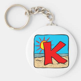 Letra K de las ideas del boda de playa Llavero Redondo Tipo Pin