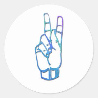 Letra K del alfabeto del ASL Pegatina Redonda