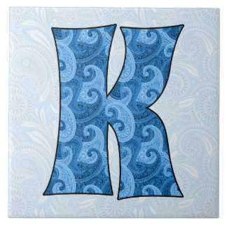 Letra K - Paisley azul con monograma teja de 6 pul