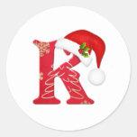 Letra K, pegatina del monograma del navidad del