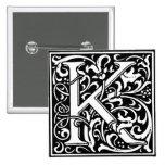Letra K - Pin del alfabeto del estilo del renacimi