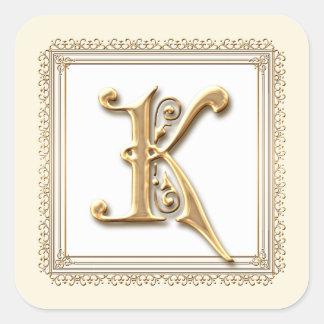 Letra K - Sello formal clásico del oro y del boda Pegatina Cuadradas Personalizada