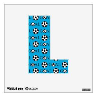 Letra L azul de la meta del fútbol