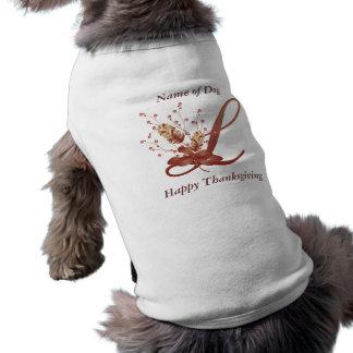 Letra L camisa del monograma de la acción de graci Ropa Perro