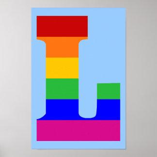 Letra L del arco iris Póster