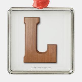 Letra l del chocolate adorno navideño cuadrado de metal