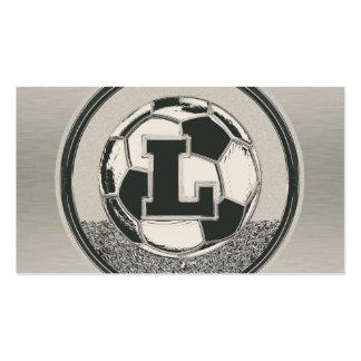 Letra L del monograma del fútbol del medallista de Tarjetas De Visita