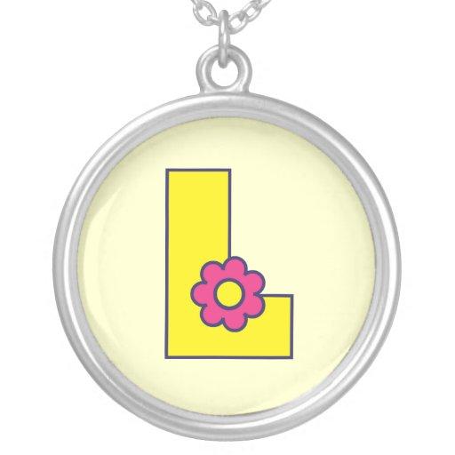 Letra L en el amarillo de Flores Pendientes Personalizados