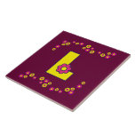 Letra L en el monograma amarillo de Flores Azulejo Cerámica