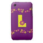 Letra L en el monograma amarillo de Flores iPhone 3 Case-Mate Carcasas
