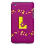 Letra L en el monograma amarillo de Flores Case-Mate iPod Touch Cárcasa