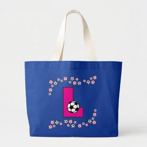 Letra L en tote del monograma del rosa del fútbol Bolsas