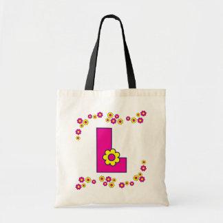 Letra L en tote rosado del monograma de Flores Bolsa Lienzo