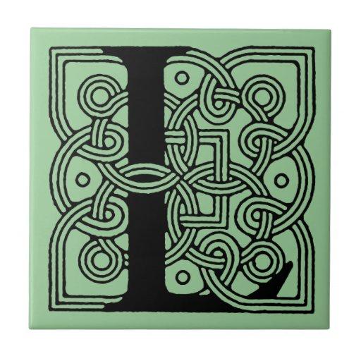 Letra L monograma céltico del nudo del vintage Teja