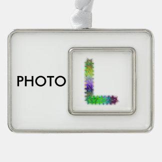 Letra L monograma del fractal Adornos Navideños