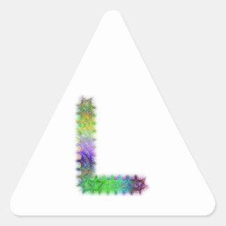 Letra L monograma del fractal Pegatina Triangular