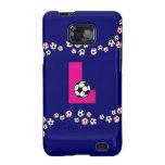 Letra L monograma en rosa del fútbol Galaxy S2 Funda