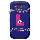 Letra L monograma en rosa del fútbol Samsung Galaxy S3 Cárcasas