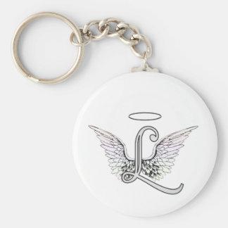 Letra L monograma inicial con las alas y halo del  Llavero Redondo Tipo Pin